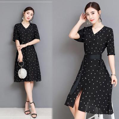 【韓國K.W.】賣瘋了美感流線飛織名媛洋裝