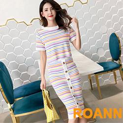 小清新糖果色條紋兩件式裙套裝 (共二色)-ROANN
