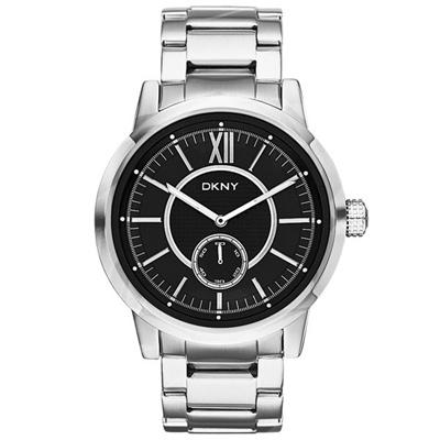 DKNY 摩登紐約時尚都會腕錶鋼帶-銀黑-44mm