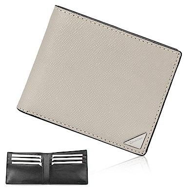 Calvin Klein 經典鐵牌LOGO防刮多卡短夾-淺灰色