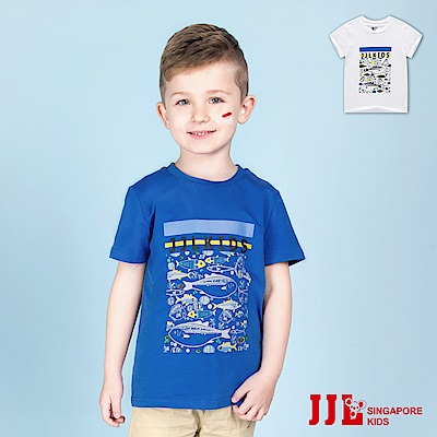 JJLKIDS 手繪海底世界圓領短袖棉T恤上衣(2色)
