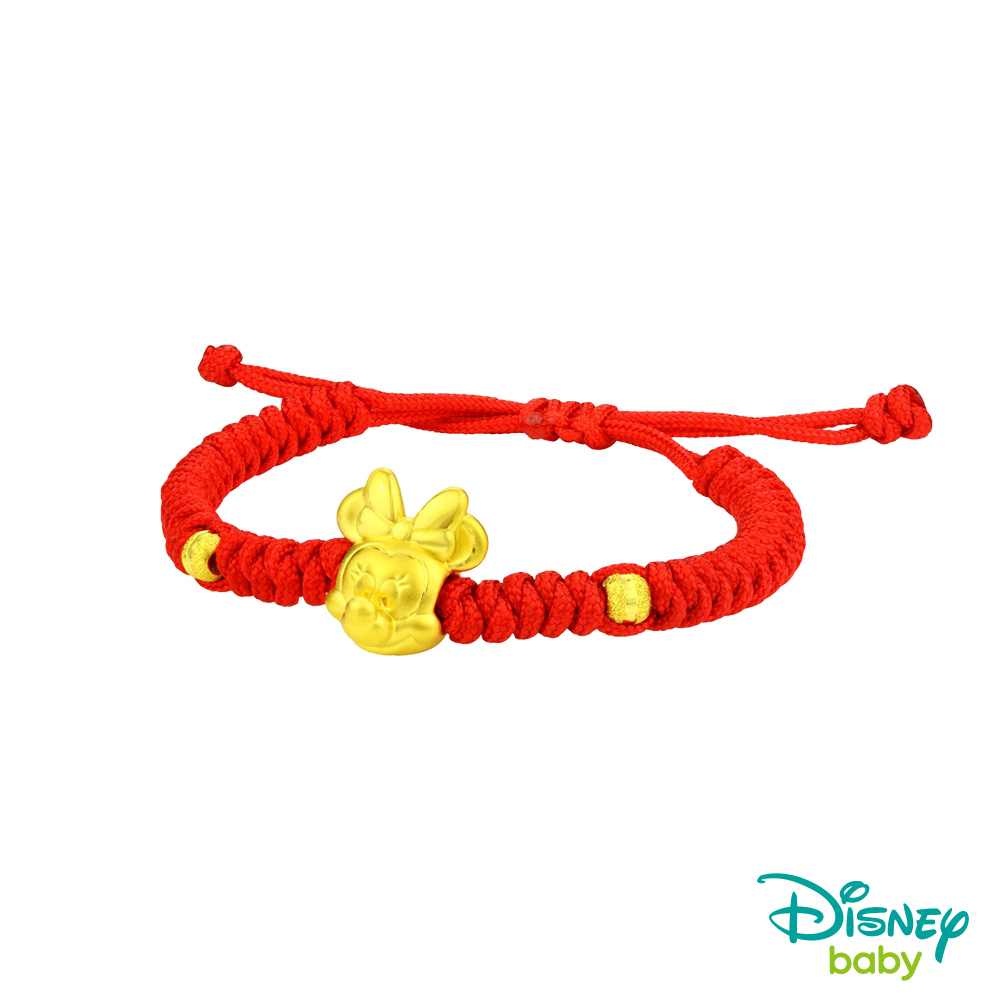 Disney迪士尼金飾 黃金中國繩手鍊-夢想美妮款-鮮艷紅