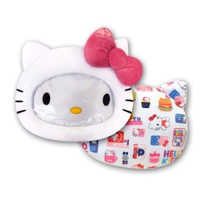 Hello Kitty 凱蒂貓 大臉造型 可視透明暖手枕 抱枕 午安枕 腰靠枕 沙發枕