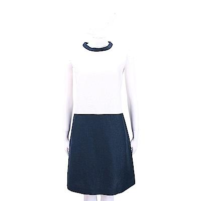 Max Mara-'S Max Mara 雙色小立領無袖洋裝(白x深藍)
