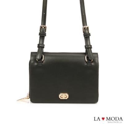 La Moda 時尚感倍增多夾層多背法大容量肩背斜背小方包(黑)