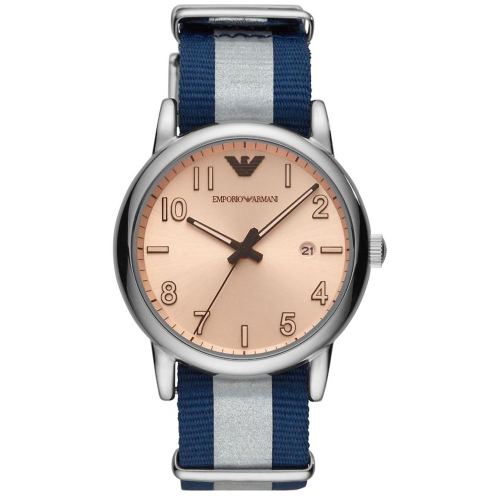 Emporio Armani 亞曼尼學院風時尚手錶(AR11212)-藍灰帶/43mm