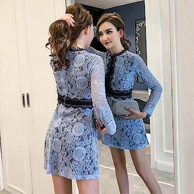 DABI 韓國風名媛鉤花蕾絲顯瘦氣質長袖洋裝