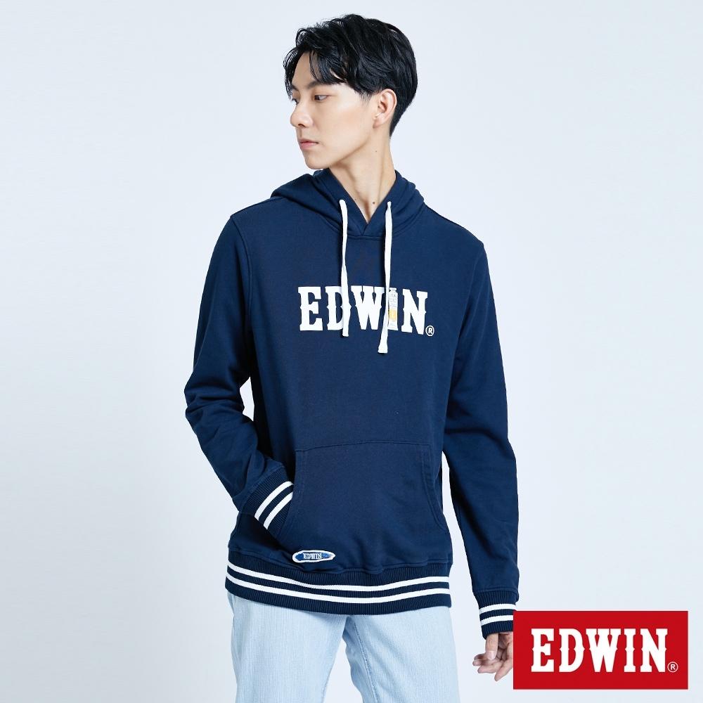 EDWIN 塗鴉系列 顏料配條厚連帽T恤-男-丈青色