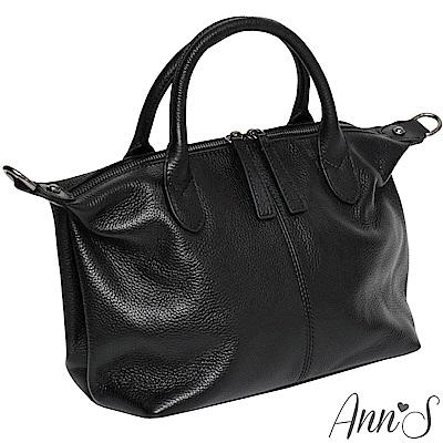 Ann'S小版質感全牛皮訂製雙拉鍊2WAY貝殼包-黑