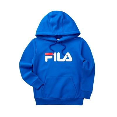 FILA KIDS #肆意極線 長袖連帽T恤-寶藍 1TET-8421-BU