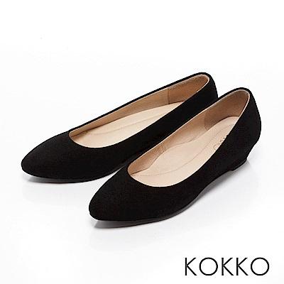 KOKKO-女紳時尚尖頭楔型跟鞋-麂皮黑