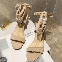 KEITH-WILL時尚鞋館 年度精選簡約素色高跟涼鞋 杏