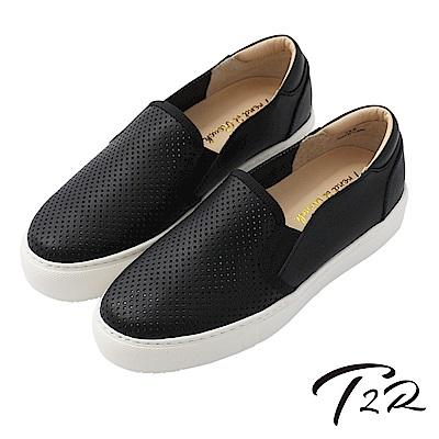 【T2R】真皮手工透氣舒適懶人鞋-黑