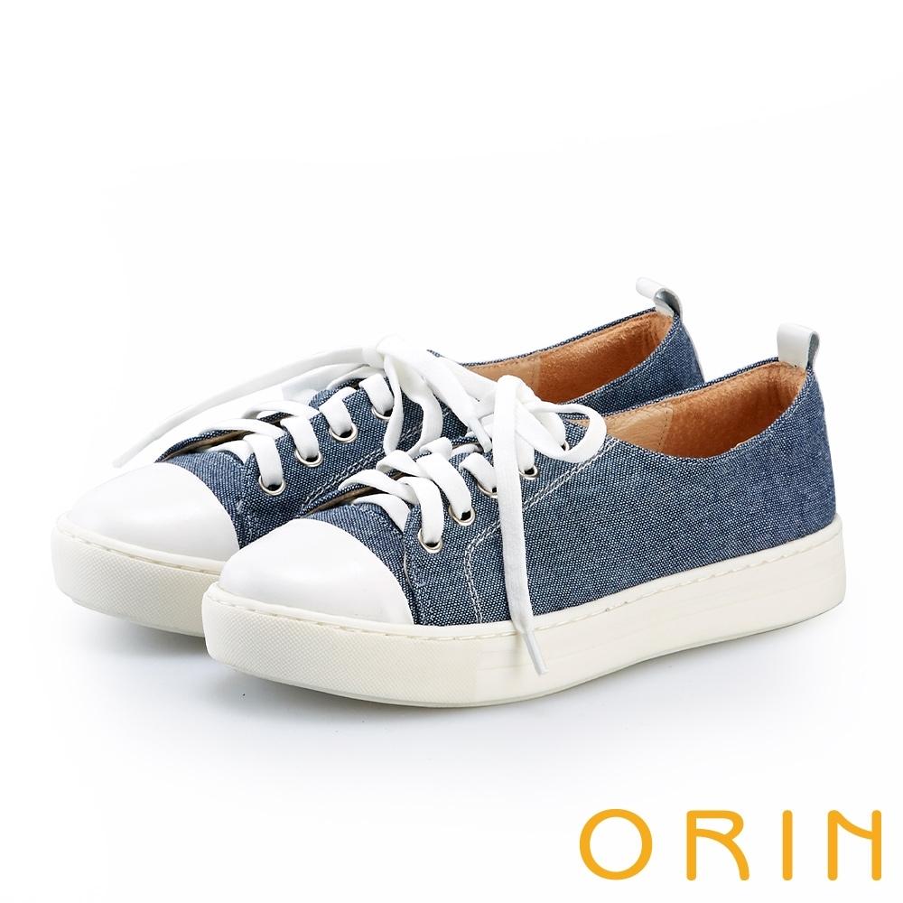 ORIN 百搭素面綁帶平底帆布鞋 藍色