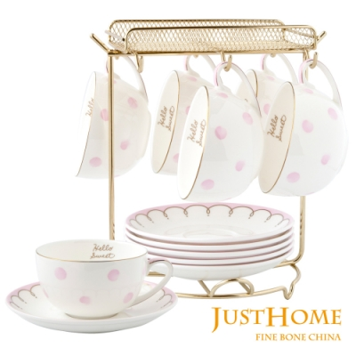 Just Home粉色英倫高級骨瓷6入咖啡杯盤組附收納架(附禮盒)