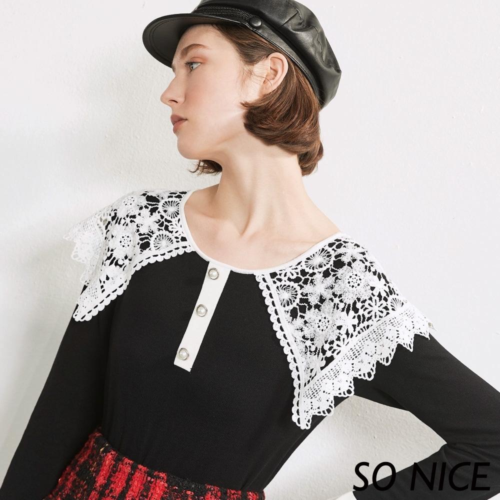 SO NICE優雅蕾絲造型領針織上衣