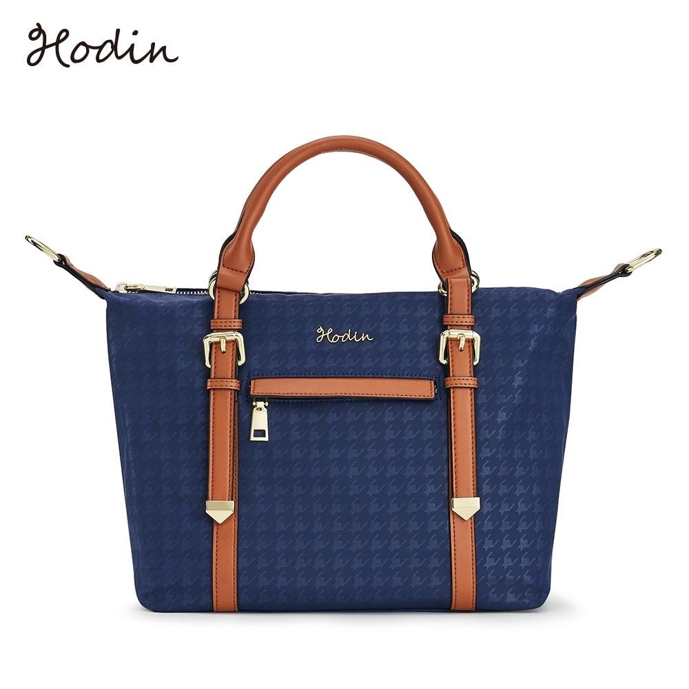 【Hodin】Plover千鳥紋雙線手提包(藍色152057BR)