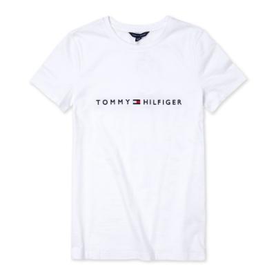 TOMMY 經典刺繡小LOGO文字短袖T恤 (女)-白色