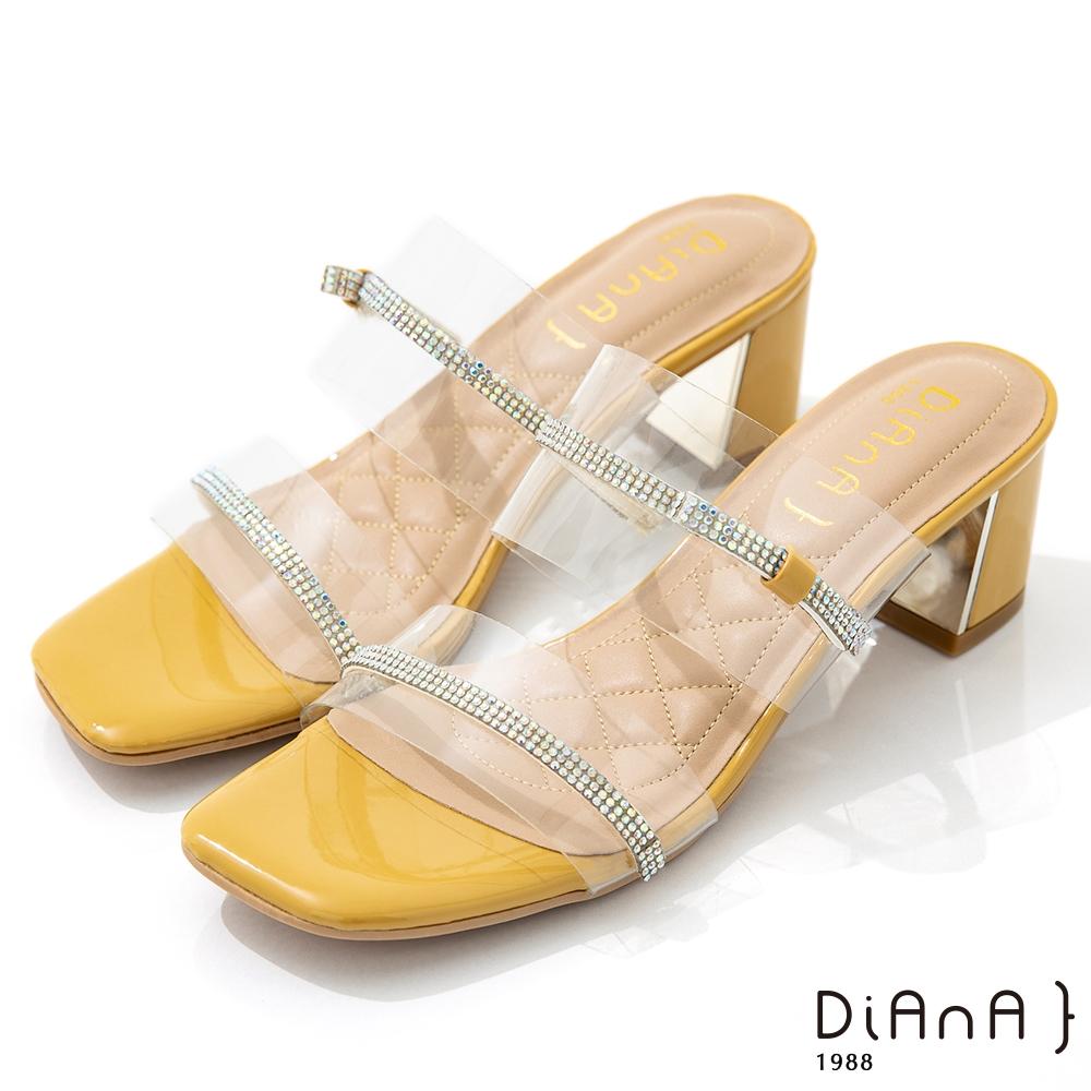 DIANA 6cm 糖果漆皮透明PVC方頭涼拖鞋-夏日風情-黃