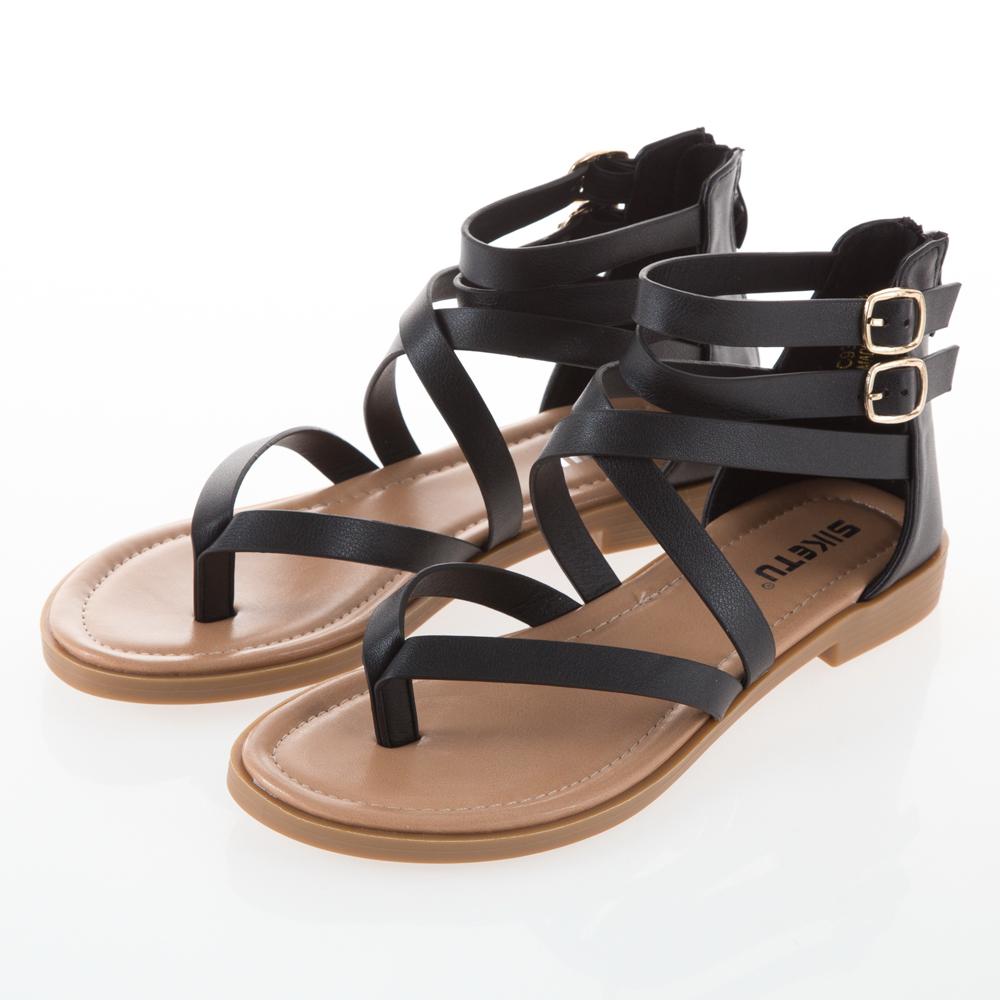 JMS-簡約日系交叉環踝羅馬夾腳涼鞋-黑色