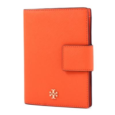 TORY BURCH 金屬LOGO防刮皮革釦式護照夾-橘色