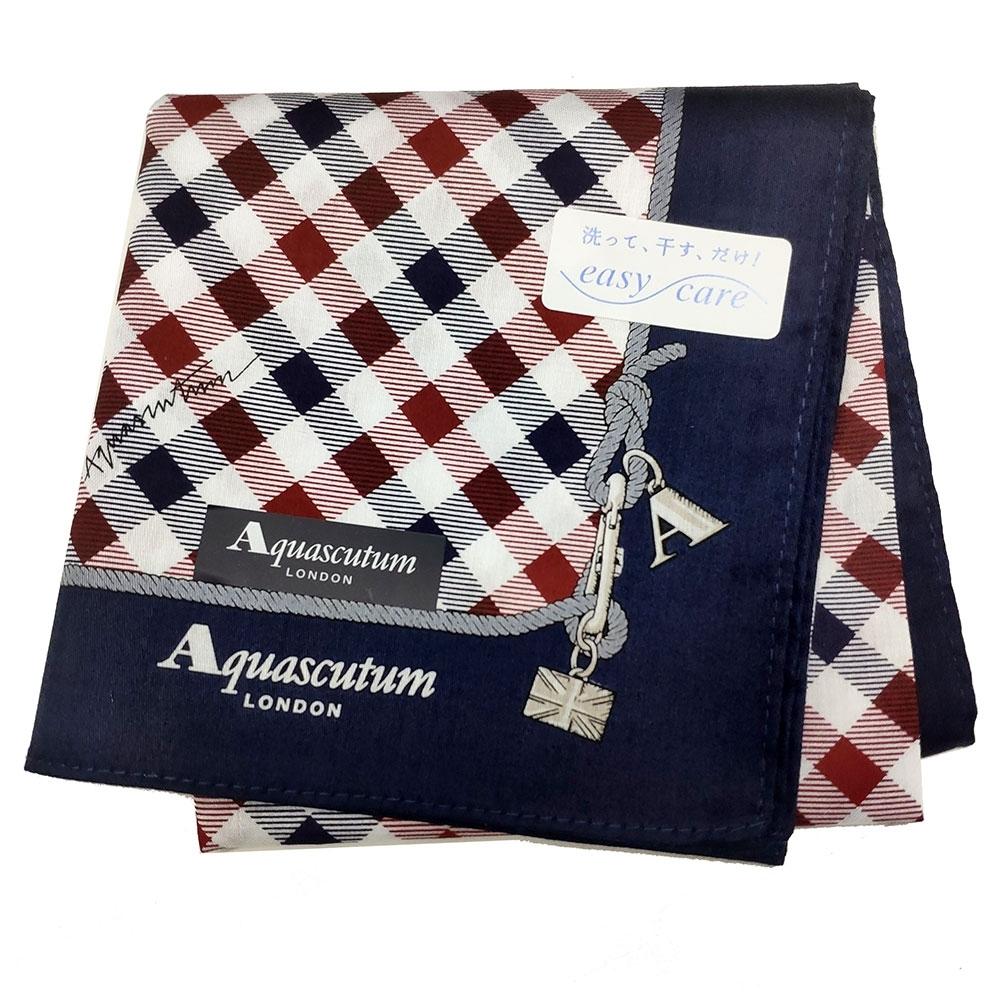Aquascutum 經典品牌字母LOGO帕領巾(深藍格紋)