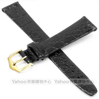 海奕施 HIRSCH Prestige M 亮面鱷魚皮手錶帶 防水可清洗 17mm -黑