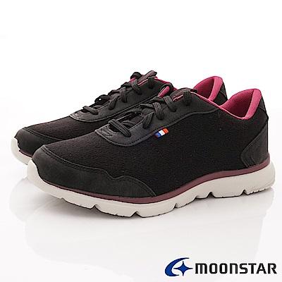 日本Moonstar戶外健走鞋-3E靜態防水抗菌款 1676黑(女段)