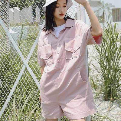 街頭風古著工裝連身短褲 (共二色)-Kugi Girl