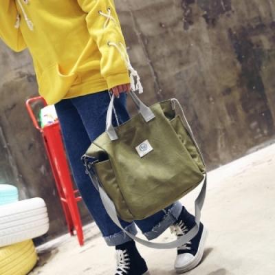 【89 zone】韓版古典文藝森單肩斜挎/手提帆布包 (綠色)