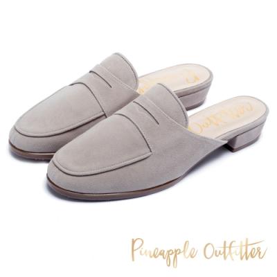 Pineapple Outfitter 簡約優雅 羊皮縫線穆勒鞋-灰色