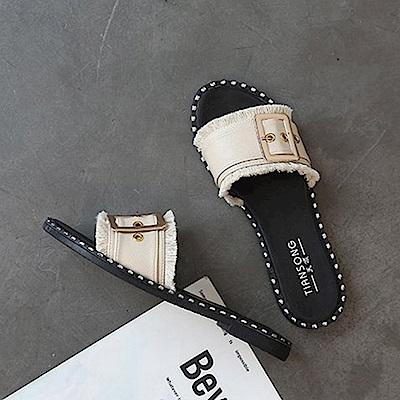 韓國KW美鞋館 韓國氣質不敗經典平底拖鞋-米色