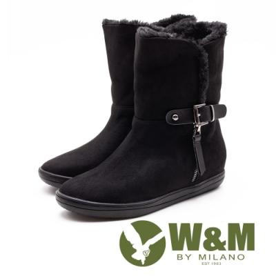 W&M 經典毛絨皮帶釦拉鍊式中筒 女靴-黑(另有灰咖)