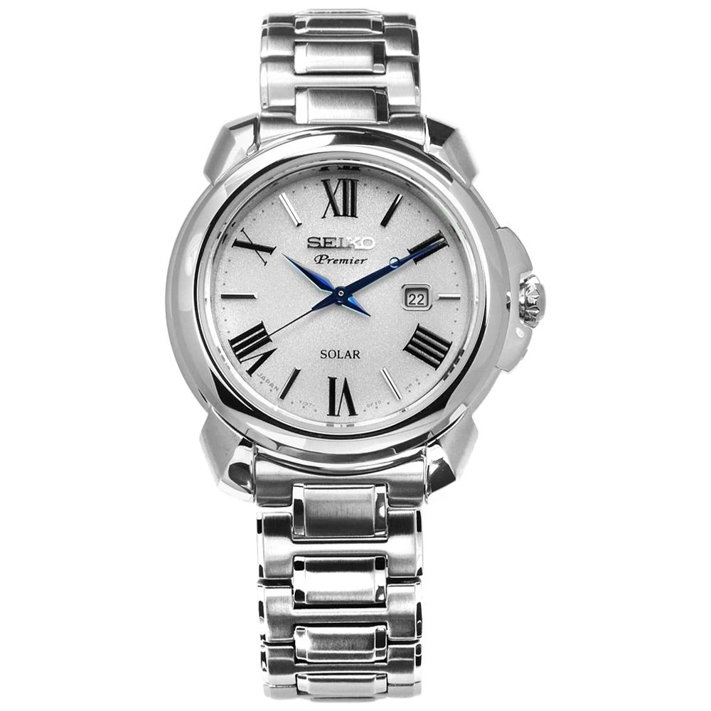 SEIKO 精工 閃耀 太陽能 藍寶石水晶 日期 不鏽鋼手錶-銀色/31mm