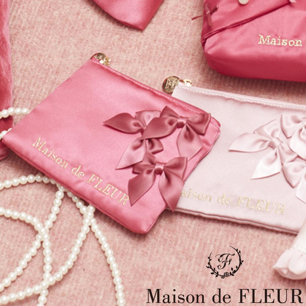 Maison de FLEUR  甜美刺繡LOGO蝴蝶結配飾零錢包-淡粉紅色