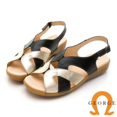 GEORGE 喬治皮鞋 金屬風寬版繞帶真皮氣墊涼鞋 -黑