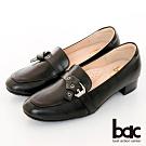 【bac】歐美簡約皮帶扣環粗跟樂福鞋-黑色