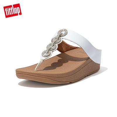 【FitFlop】FINO SPARKLE TOE-THONGS 優雅鑲鑽鎖鏈裝飾夾腳涼鞋-女(都會白)