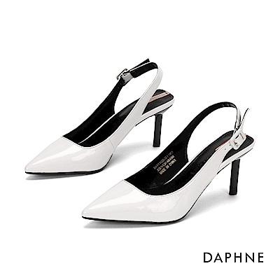 達芙妮DAPHNE 高跟鞋-時尚漆皮撞色尖頭高跟鞋-米白