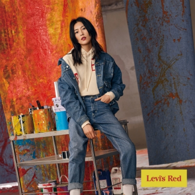 Levis Red 工裝手稿風復刻再造 女款 上寬下窄 High Loose復古超高腰牛仔寬褲 中藍 寒麻纖維