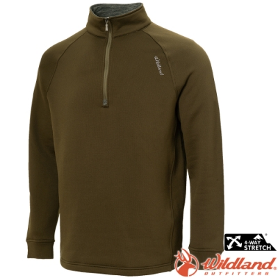 Wildland 荒野 0A72610-38墨綠色 男彈性立領拉鍊保暖上衣/小立領中層衣