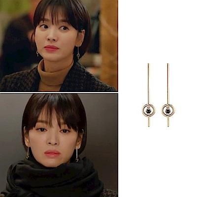 梨花HANA 韓國925銀男朋友宋慧喬一字圓圈點黑水晶耳環