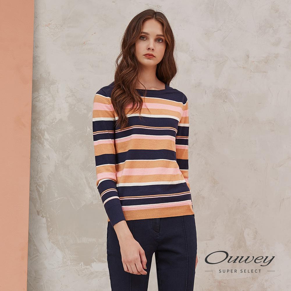OUWEY歐薇 含羊毛翻玩簡約撞色造型領針織上衣(藍)