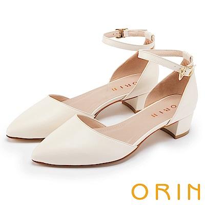 ORIN 時尚名媛 素面繫踝金屬釦帶尖頭粗跟鞋-米色