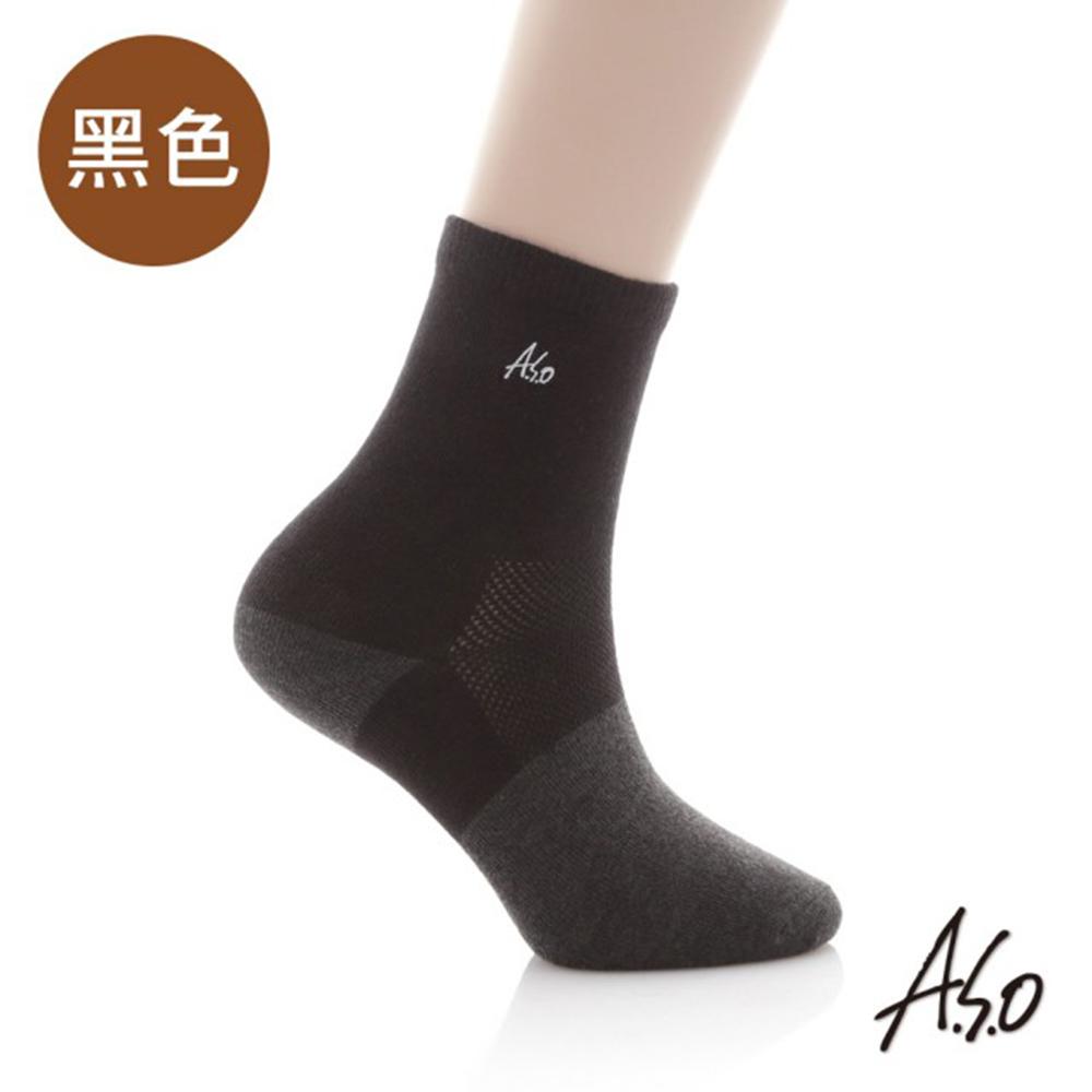 A.S.O 抑菌除臭弓形竹炭襪(6雙入)-黑