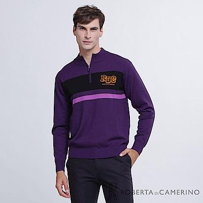 ROBERTA諾貝達 台灣製 舒適保暖 跳色LOGO純美麗諾羊毛衣 紫黃
