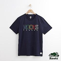 Roots 男裝-多彩字標短袖T恤-藍色