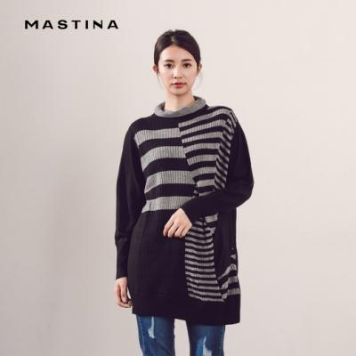 【MASTINA】撞色條紋長版-針織衫(三色)