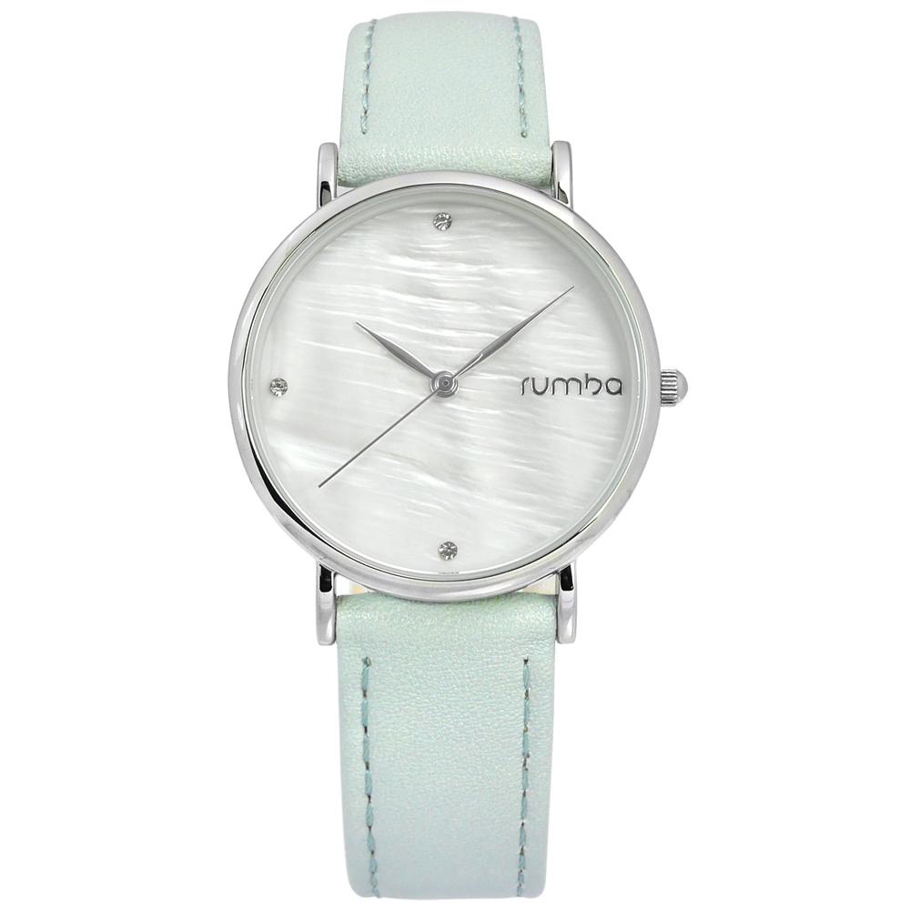 rumba time 紐約品牌 珍珠母貝 晶鑽 真皮手錶-銀白x淺藍/32mm