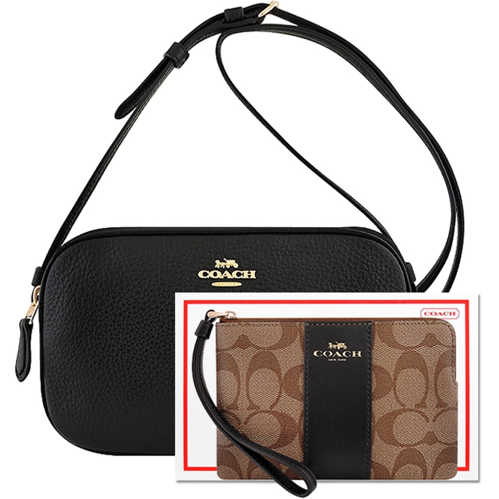 COACH 黑色荔枝紋皮革雙層斜背包+黑色大C PVC手拿包